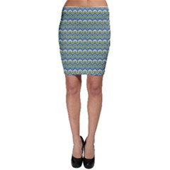 Blue Chevron Hand Painted Pattern Bodycon Skirt