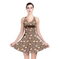 Brown The Cups With Coffee And Foam In The Shape Reversible Skater Dress
