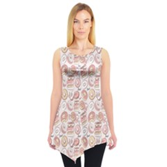 Pink Donut Pattern Sleeveless Tunic Top by CoolDesigns