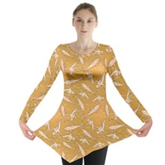 Yellow With Stylized Sharks Stylish Design Long Sleeve Tunic Top by CoolDesigns