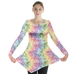 Colorful Pastel Rainbow Petals Long Sleeve Tunic Top by CoolDesigns