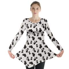 Gray Cartoon Cats Black Silhouettes With White Long Sleeve Tunic Top by CoolDesigns