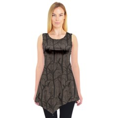 Black Pattern With Ravens Sleeveless Tunic Top
