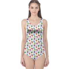Colorful Pattern A Cute Monsters And Inscriptions One Piece Swimsuit