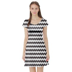 Blue Chevron Pattern Short Sleeve Skater Dress by CoolDesigns