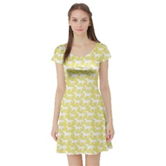 Yellow Pattern Stylized Horses Short Sleeve Skater Dress