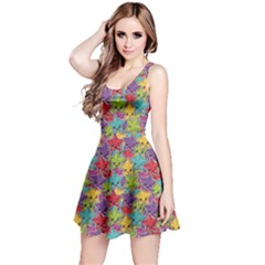 Colorful Pattern Colorful Kawaii Stars Reversible Sleeveless Dress by CoolDesigns
