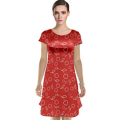 Red Pattern Circuit Cherry Cap Sleeve Nightdress by CoolDesigns