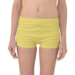Yellow Yellow And White Chevron Pattern Boyleg Bikini Bottoms by CoolDesigns