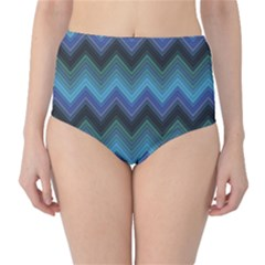 Blue Green And Blue Multicolor Horizontal Fashion Chevron High Waist Bikini Bottom by CoolDesigns