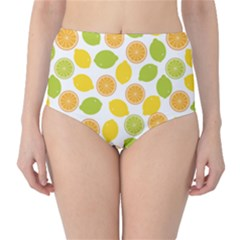 Yellow Pattern With Lemon Lime Orange On The White High Waist Bikini Bottom by CoolDesigns