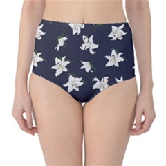 Blue Lilies Navy Print High Waist Bikini Bottom by CoolDesigns