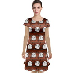 Brown Halloween Ghost Pattern Cap Sleeve Nightdress by CoolDesigns