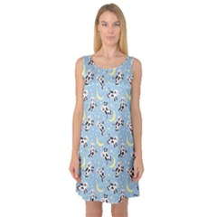 Blue Moo Cows At Night Pattern Sleeveless Satin Nightdress by CoolDesigns
