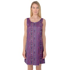Purple Ethnic Pattern In Retro Colors Sleeveless Satin Nightdress