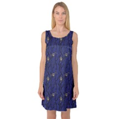 Blue Pattern Owls In The Night Forest Sleeveless Satin Nightdress by CoolDesigns