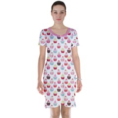 Pink Watercolor Cupcakes Pattern Hand Drawn Short Sleeve Nightdress by CoolDesigns