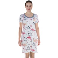 Colorful Flamingo Bird Pattern Short Sleeve Nightdress by CoolDesigns