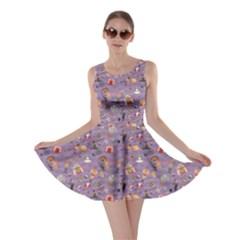 Purple Colorful Circus Pattern Skater Dress