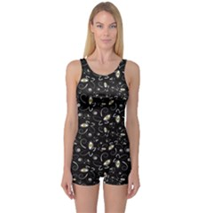 Black Handpainted Butterflies with Eyes Black and White Boyleg One Piece Swimsuit by CoolDesigns
