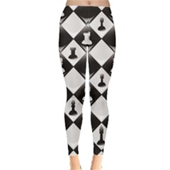 Black A ly Repeatable Glossy Chessboard Chess Pieces Leggings by CoolDesigns