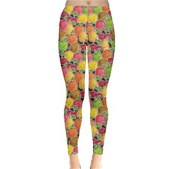 Colorful Pattern Cute Kawaii Smiling Fruits Stickers Leggings by CoolDesigns