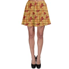 Orange Pattern Horses Silhouettes and Cells Skater Skirt by CoolDesigns