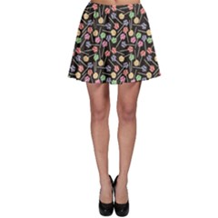 Colorful Colorful Sweet Lollipops Dark Pattern Skater Skirt by CoolDesigns