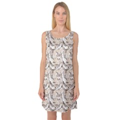 Gray Bright Graphic Floral Pattern Sleeveless Satin Nightdress