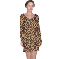 Brown A Yellow And Black Jaguar Spotted Repeatable Long Sleeve Nightdress