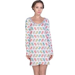 Purple Sweet Pattern With Kittens Long Sleeve Nightdress by CoolDesigns