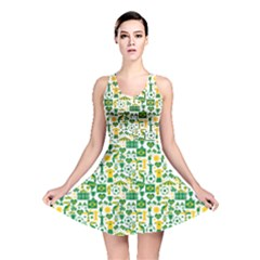 Green Brazil Country Foodball Shirts Flags Pattern Reversible Skater Dress by CoolDesigns