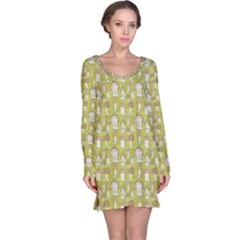 Green Pattern With Cep Mushroom Long Sleeve Nightdress