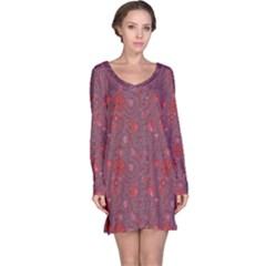 Purple Red Love Hearts Birds Flowers Pattern Long Sleeve Nightdress