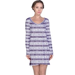 Blue Borders With Nautical And Sea Symbols Long Sleeve Nightdress
