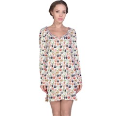 Colorful Pattern With Sushi Long Sleeve Nightdress