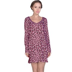 Purple Pink Leopard Texture Pattern Long Sleeve Nightdress by CoolDesigns