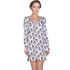 Black Pattern With Cartoon Penguins Long Sleeve Nightdress by CoolDesigns