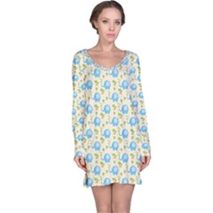 Yellow Tree Elephants Cute Pattern Long Sleeve Nightdress by CoolDesigns