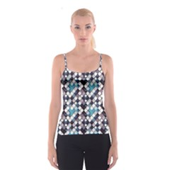 Blue Pattern Blue Geometric Abstract Pattern Of Squares Spathetti Strap Top by CoolDesigns