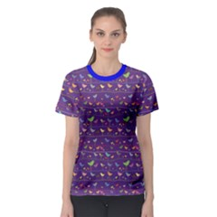 Blue Retro Funny Bird Pattern Design Element Women s Sport Mesh Tee by CoolDesigns