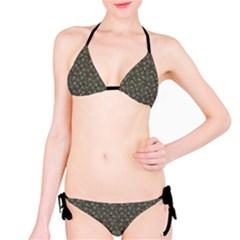 Dark Cannabis Leafs With Skulls Pattern Bikini Set