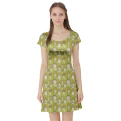 Green Pattern With Cep Mushroom Short Sleeve Skater Dress by CoolDesigns