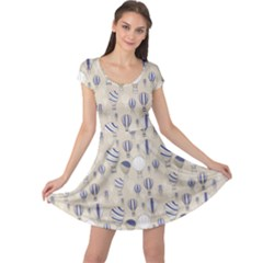 Gray Pattern With Balloons Cap Sleeve Dress