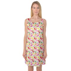 Colorful Pattern With Easter Birds Sleeveless Satin Nightdress by CoolDesigns