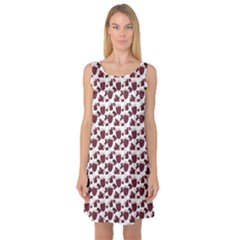 Purple Pattern With Wine Glasses Sleeveless Satin Nightdress