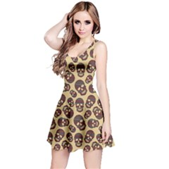 Brown Pattern With Skulls Sleeveless Dress by CoolDesigns