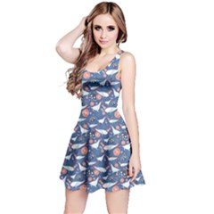 Blue Graphic Pattern Bright Flowers And Birds In Love Sleeveless Dress by CoolDesigns