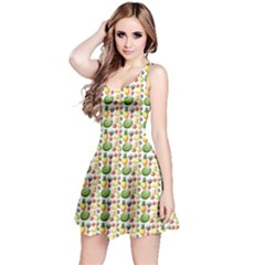 Green Different Kind Of Fruits Watermelon Mango Pineapple Sleeveless Dress by CoolDesigns