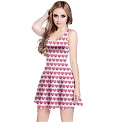 Pink Pattern With Valentine Hearts Smiles Sleeveless Dress by CoolDesigns